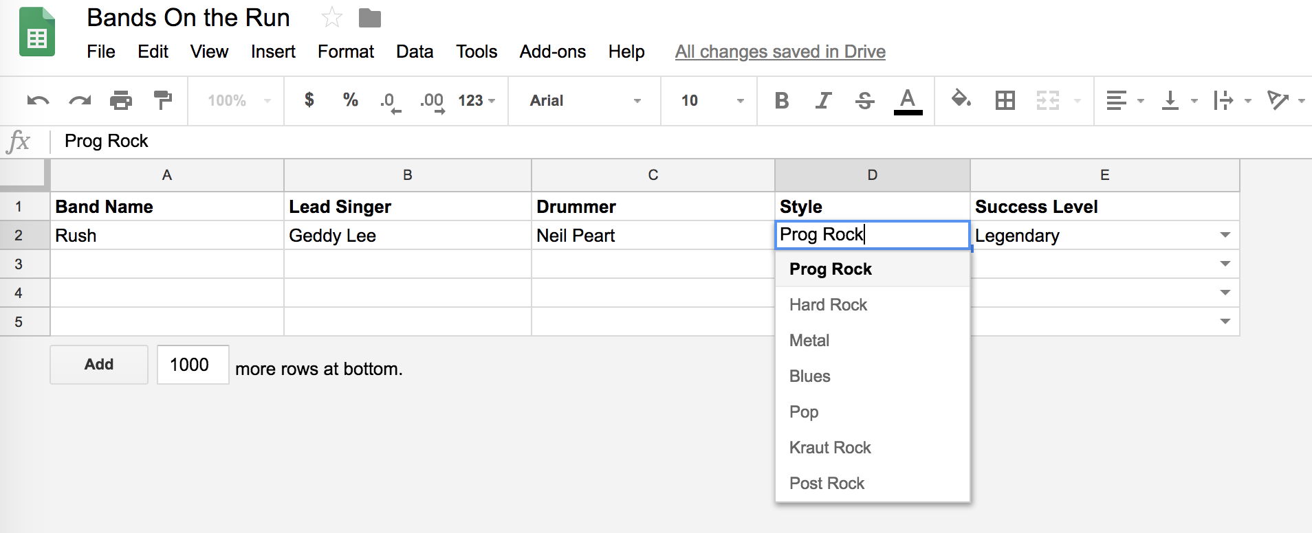 Google spreadsheet showing band listings